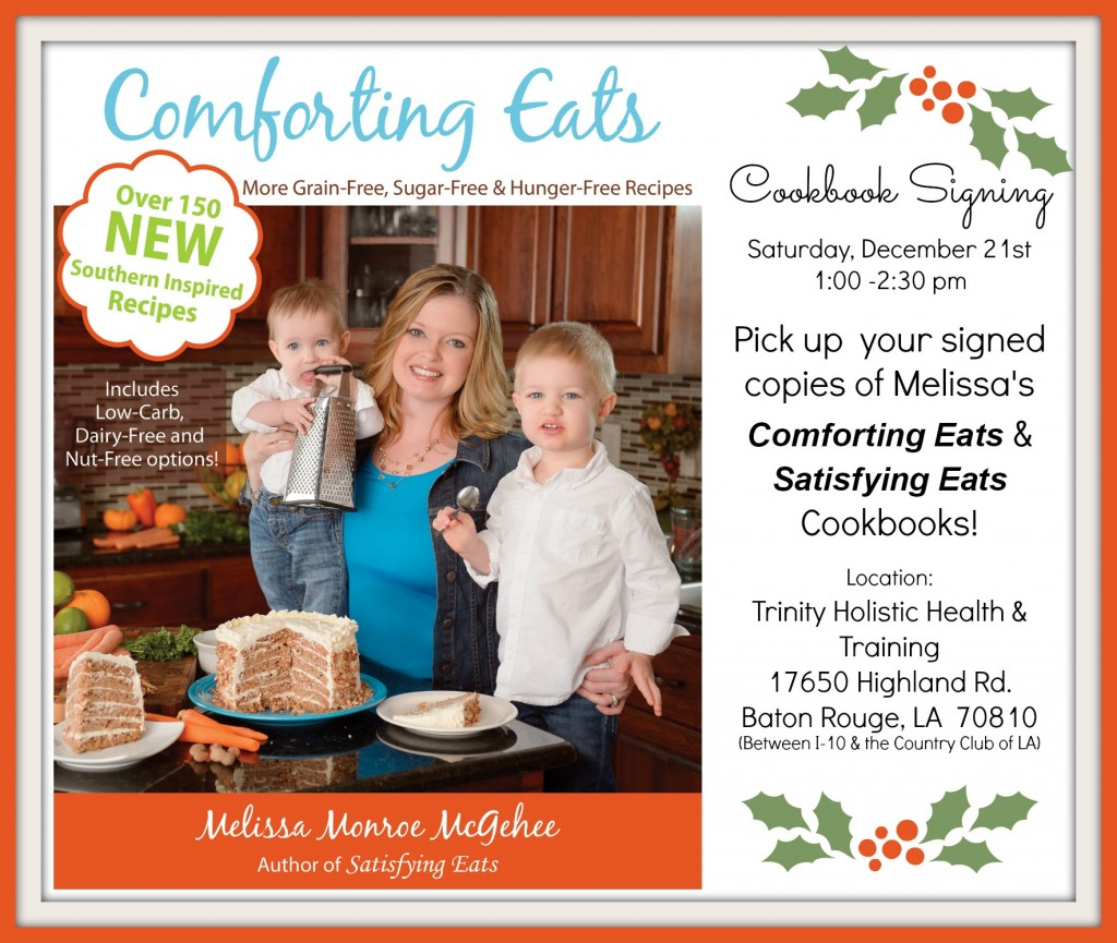 Comforting Eats NOW available & Book signing this weekend