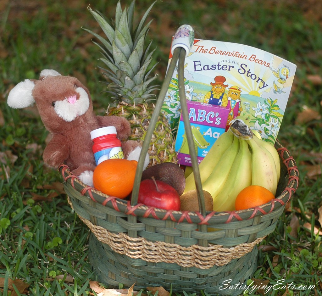 Easy bunny cake a real food easter basket filled with my boys favorite fruit along with bubbles my 3 year old loves them flash cards and an easter story book negle Image collections