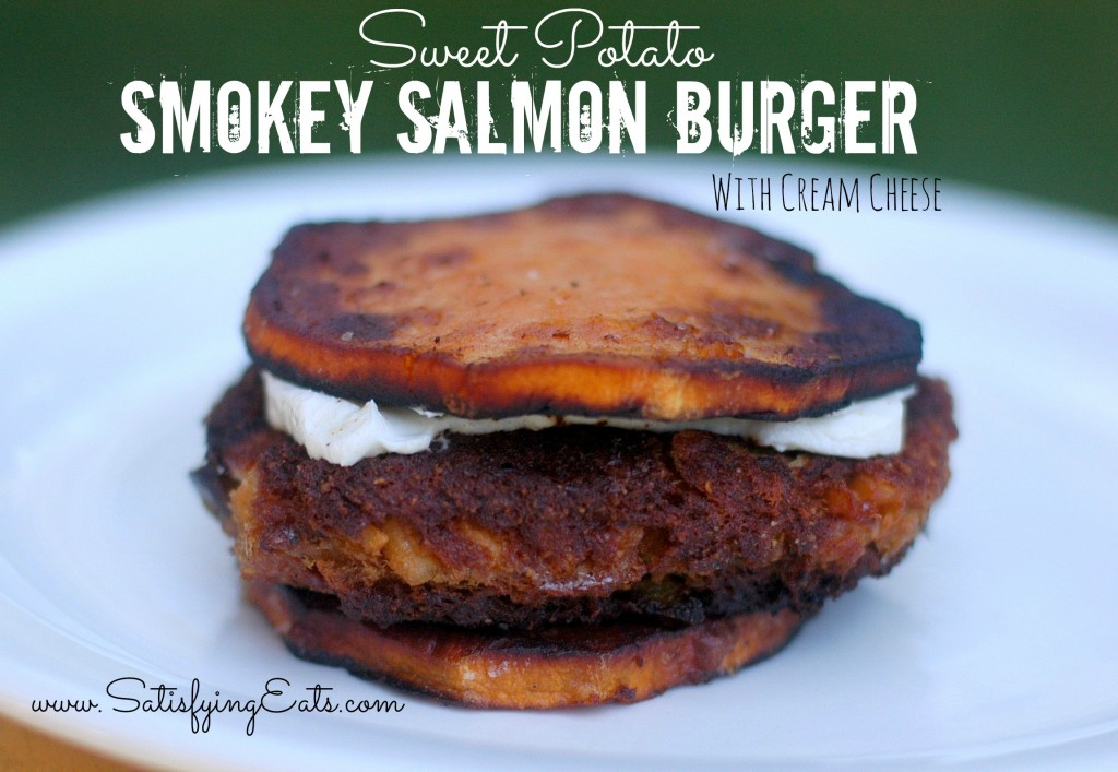 sweet potato smokey salmon burger